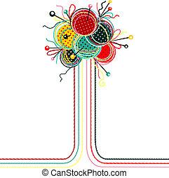 abstratos, bolas, tricotando, composição, fio