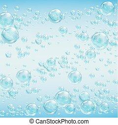 abstratos, bolhas, fundo, water.