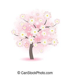 abstratos, bonito, flor, árvore, com, flores côr-de-rosa