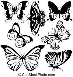 abstratos, borboletas