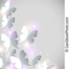 abstratos, borboletas, fundo