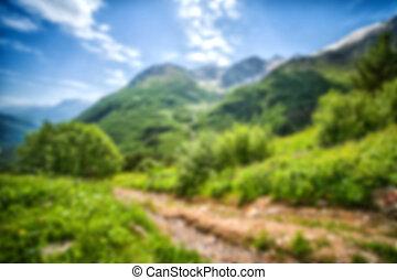 abstratos, borrão, fundo, de, montanhas