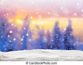 abstratos, borrão, inverno, fundo, em, pôr do sol