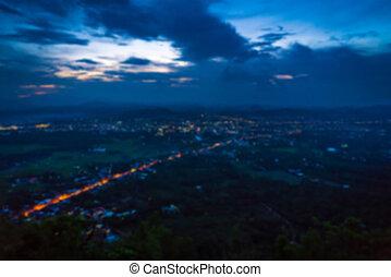 abstratos, borrão, vista aérea, de, noturna, cidade pequena