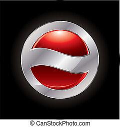 abstratos, botão, vermelho