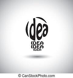 abstratos, bulbo leve, idéia, ícone, usando, palavras, -,...
