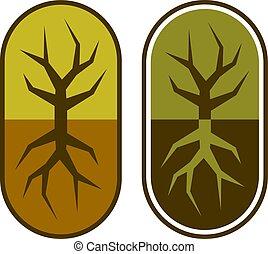 abstratos, cápsula, com, árvore, símbolo