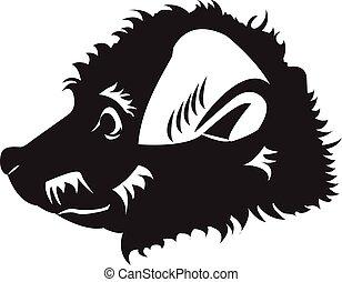 abstratos, cão, puppy., desenho, logotipo, feliz