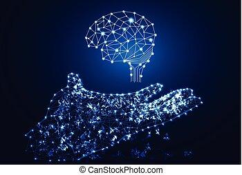 abstratos, cérebro, olá, mão, digital, tech, fundo, link, conceito, tecnologia