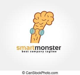 abstratos, cérebro, personagem, vetorial, logotipo, ícone, concept., logotype, modelo, para, marcar