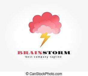 abstratos, cérebro, vetorial, logotipo, ícone, concept., logotype, modelo, para, marcar
