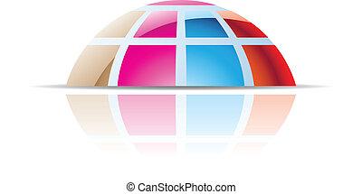 abstratos, cúpula, coloridos, ícone