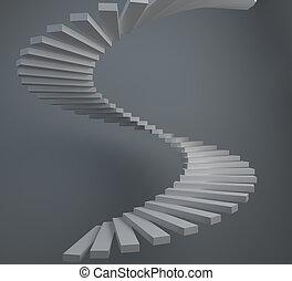 abstratos, caixa espiralada escada