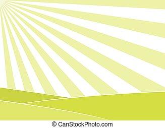 abstratos, campo, e, raios sol, fundo