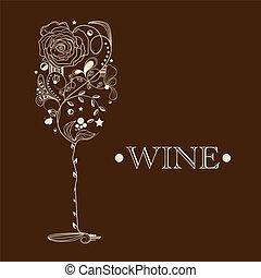 abstratos, cartão, vinho