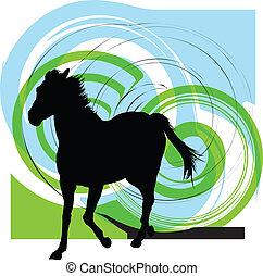 abstratos, cavalos, silhouettes., vetorial