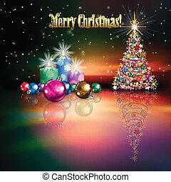 abstratos, celebração, fundo, com, árvore natal