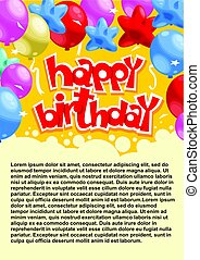 abstratos, celebrando, partido aniversário, cartaz