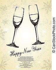 abstratos, champanhe, fundo, óculos