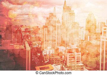 abstratos, cidade, fundo, com, obscurecido, edifícios, e, rua, cidade, ligado, vermelho, tom, bokeh, abstratos, urbano, detalhes, e, luzes
