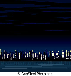 abstratos, cidade, noturna