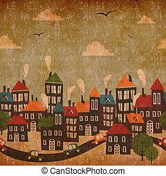 abstratos, cidade, vindima, fundo