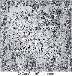abstratos, cinzento, floral, ornamento, ligado, enferrujado,...