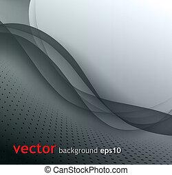 abstratos, cinzento, onda, vetorial, fundo