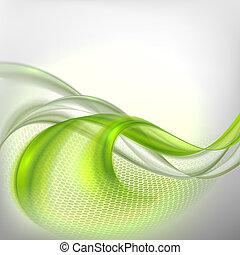 abstratos, cinzento, waving, fundo, com, verde, elemento