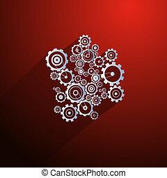 abstratos, cogs, papel, vetorial, engrenagens, fundo, vermelho