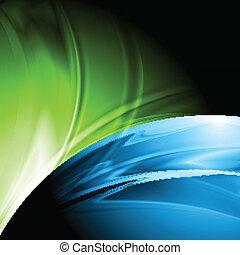 abstratos, colorido, desenho, com, ondas