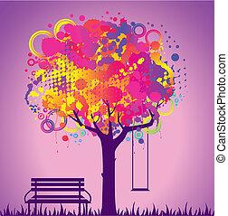 abstratos, coloridos, árvore