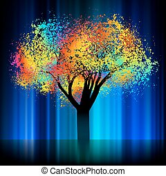 abstratos, coloridos, árvore., com, cópia, space., eps, 8
