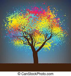 abstratos, coloridos, árvore., eps, 8
