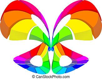 abstratos, coloridos, borboleta