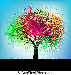abstratos, coloridos, conceito, árvore., eps, 8