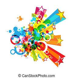 abstratos, coloridos, festival, decoração, fundo