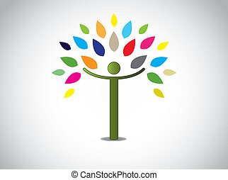 abstratos, coloridos, folhas, árvore, feliz, menino, ou,...