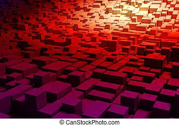 abstratos, coloridos, fundo, 3d