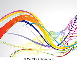 abstratos, coloridos, linha, onda, fundo