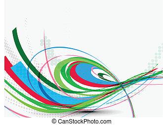 abstratos, coloridos, onda, linha, fundo