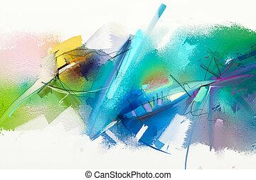 abstratos, coloridos, pintura óleo, ligado, lona, textura