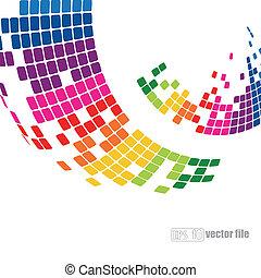 abstratos, coloridos, pixelated, fundo