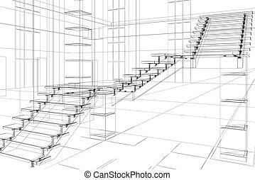 abstratos, construção, arquitetônico