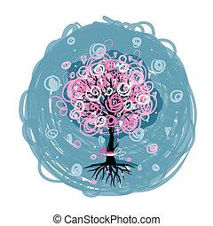 abstratos, cor-de-rosa, árvore, com, raizes, para, seu, desenho