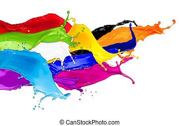abstratos, cor, esguichos