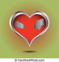 abstratos, coração vermelho