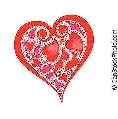 abstratos, coração vermelho, forma