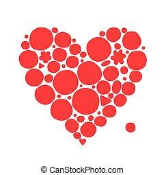 abstratos, coração vermelho, forma, esboço, para, seu, desenho