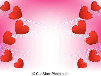 abstratos, coração, vermelho, para, cartão valentine, desenho